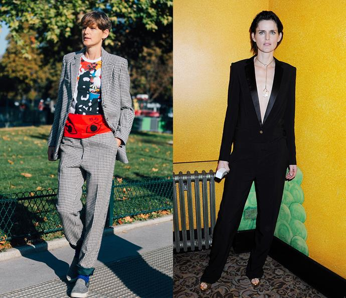 ***Stella Tennant***<br><br> British supermodel Stella Tennant's M.O. is perfectly balancing traditionally masculine shapes with feminine details—whether it's wide-leg culottes paired with a breezy blouse or a relaxed suit and a tee.