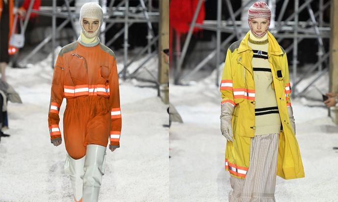 "**Calvin Klein 205W39NYC autumn/winter '18** <br><br> A theme of protection was very prevalent in [Raf Simons](https://www.harpersbazaar.com.au/fashion/raf-simons-calvin-klein-exit-17872|target=""_blank"")' third runway collection for Calvin Klein—through the use of neon protection garments and a set resembling a nuclear wasteland. Many considered it to be his vision of a post-apocalyptic America, due to the country's tense political climate. <br><br> Simons' time at Calvin Klein included plenty of nods to American culture, often with a dystopian twist, so this explanation seems fitting."
