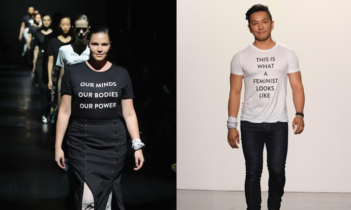 "**Prabal Gurung autumn/winter '17** <br><br> Gurung, whose designs are a favourite of First Lady Michelle Obama, has been known to incorporate political themes into his collections. At his autumn/winter '17 show, Gurung featured a variety of simple tees on the runway, featuring slogans like 'Our mind, our bodies, our power' and 'We will not be silenced'. <br><br> Of the politically-minded tees, Gurung told *[The Hollywood Reporter](https://www.hollywoodreporter.com/news/prabal-gurung-explains-his-nyfw-feminist-finale-975447|target=""_blank"")*: ""People on the outside and even some people in the fashion industry think that fashion people are maybe not the smartest. It's a constant battle. But we have the platform, we have the audience."""