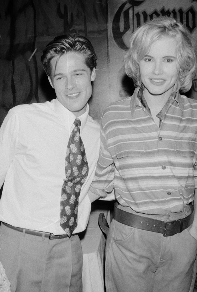 **Geena Davis: 1992** <br><br> Pitt and Davis were on-screen lovers in *Thelma & Louise*, but according to Pitt's former housemate, Jason Priestley, they also had a brief off-screen romance.