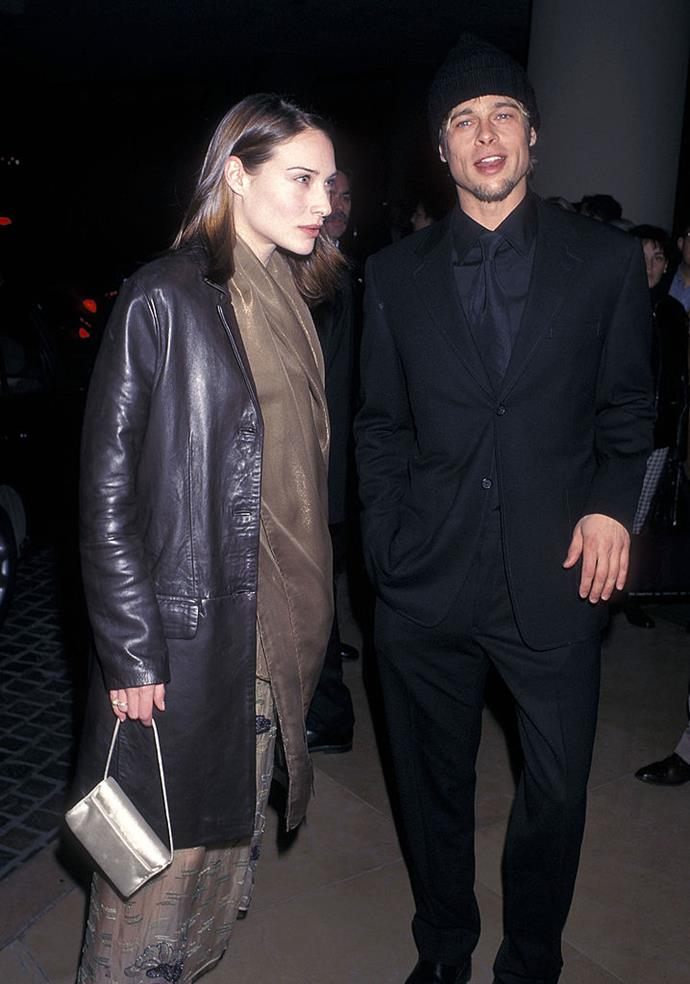 **Claire Forlani: 1998** <br><br> Pitt had a brief turn dating his *Meet Joe Black* co-star Claire Forlani and the pair walked the red carpet at the 1998 Wrtiers' Guild of America Awards together.