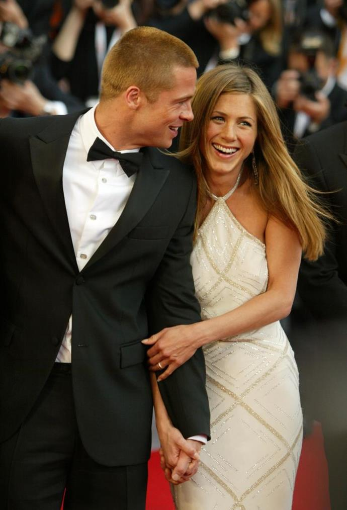 **Jennifer Aniston: 1998 - 2004** <br><br> Arguably one of his most high-profile relationships (aside from the one that came next), Pitt met Aniston in a 1998 blind date arranged by their agents. They got married in 2000, but announced they were formally separating in 2005, finalising their divorce later that year.