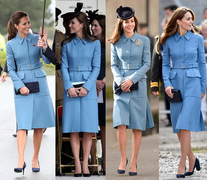 ***Blue Alexander McQueen coat***<br> We think this one may be a favourite. Kate has worn this belted blue Alexander McQueen coat no less than four times.