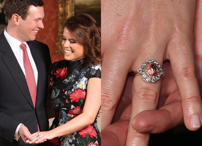 ***Princess Eugenie of York***<br><Br> Princess Eugenie had a hand in designing her own ring, given to her by fiancé Jack Brooksbank. The couple decided on a pink Padparadscha sapphire surrounded by a halo of white diamonds and set in gold. The design closely mirrors her mother's floral-shaped ring.