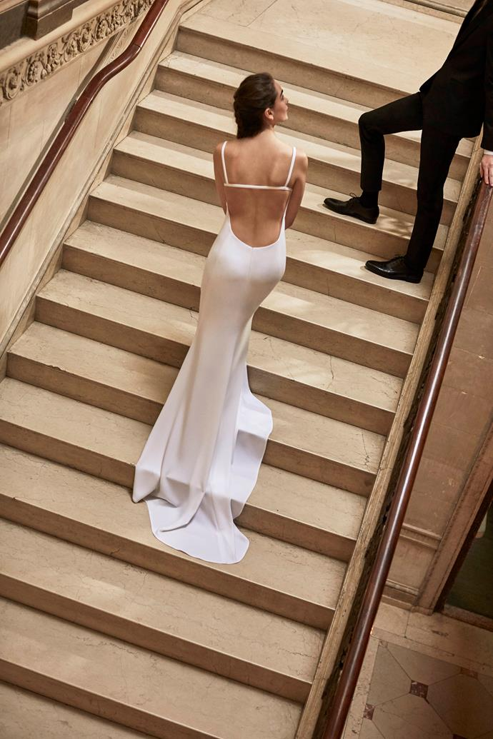 **SCORPIO** <br><br> As the sultriest sign on the chart, Scorpio brides will likely ooze confidence, and will be the most comfortable wearing a daring (albeit still classic) wedding gown. Think backlessness, clinging fabrics, and even no sleeves or straps. <br><br> *Pictured: Carolina Herrera bridal, 2018.*