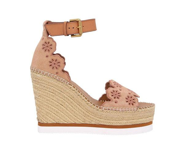 "Wedges by See by Chloe, $420 at [Myer](https://www.myer.com.au/p/se-by-chloe-powder-nat-sandal|target=""_blank""