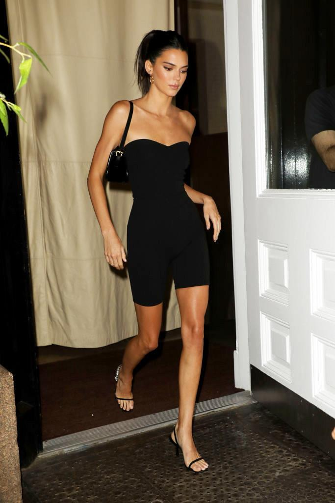 Kendall Jenner wearing a strapless shapewear romper in September 2019.