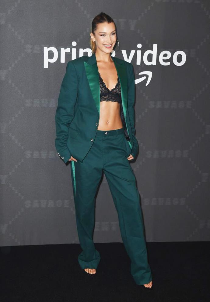 Bella Hadid wearing a lace bra as a top in September 2019.