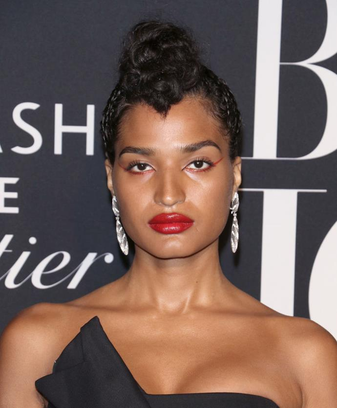 "**Indya Moore**<br><br>  *Pose* star and [transgender model](https://www.harpersbazaar.com.au/fashion/transgender-models-19248|target=""_blank"") Indya Moore has the uncanny ability to make vivid makeup look incredibly polished. From statement eyes with vibrant lips to a monochromatic matching of both, their looks often break the so-called 'rules', but always with aplomb."