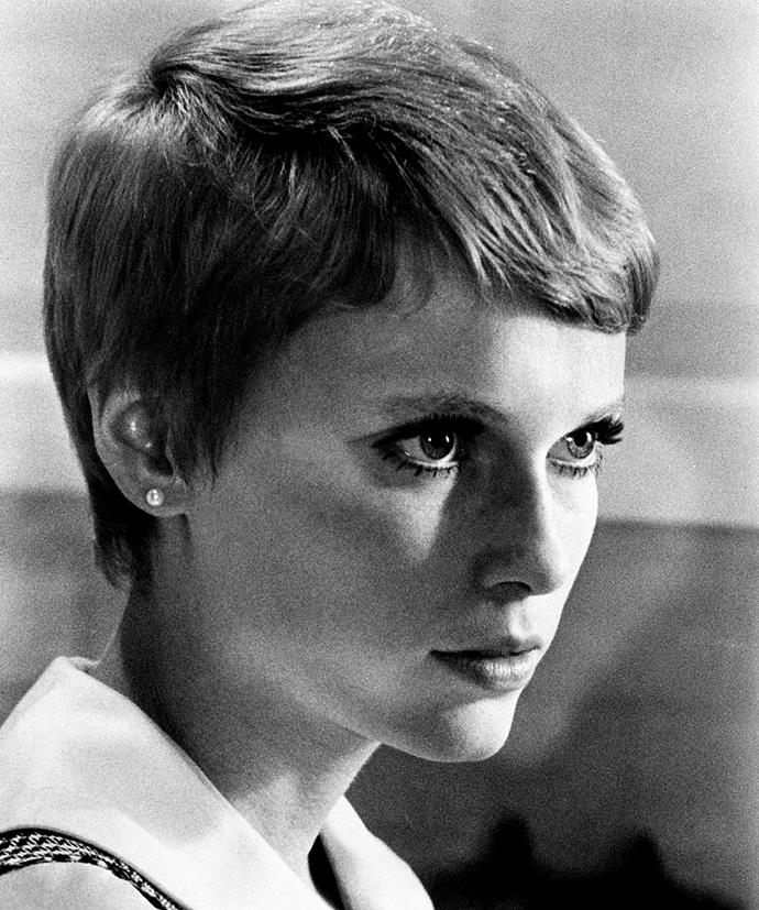 """**Mia Farrow's pixie cut reveal in** ***Rosemary's Baby***<br><br>  Arugably the pixie cut moment that inspired them all, the scene where Rosemary (Mia Farrow) reveals her short haircut to her husband, he asks """"What the hell is that?"""" and she says, """"I've been to Vidal Sassoon"""" is one we'll never forget."""