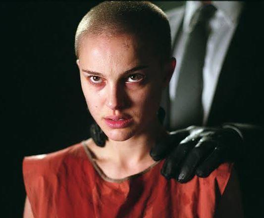 **Natalie Portman's head-shaving scene in** ***V For Vendetta***<br><br>  Like Demi Moore's, Natalie Portman's real head-shaving moment in 2005's *V For Vendetta* is one for the hair history books.
