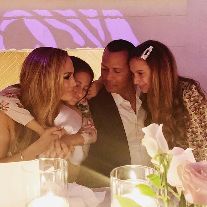 "Lopez and Rodriguez took a moment to celebrate with her daughter Emme and his daughter Elle in a sweet family photo.<br><br>  *Image via [@jlo](https://www.instagram.com/p/B3AopU8AdpA/|target=""_blank""