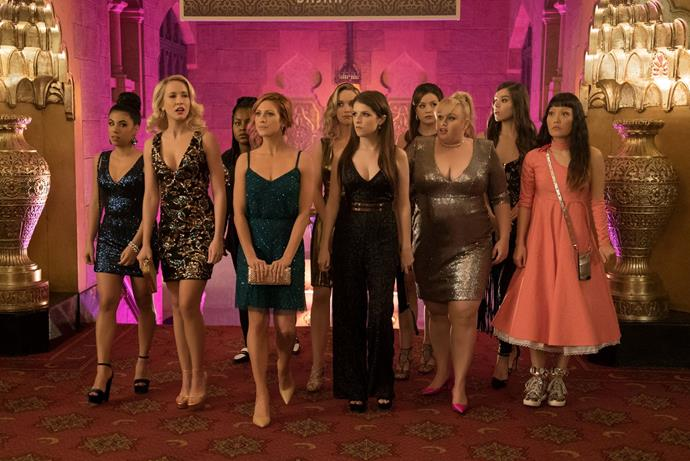 ***Pitch Perfect 3*(07/10/2019)** <br><br> Following their win at the world championship, the now separated Bellas reunite for one last singing competition at an overseas USO tour, but face a group who uses both instruments and voices.