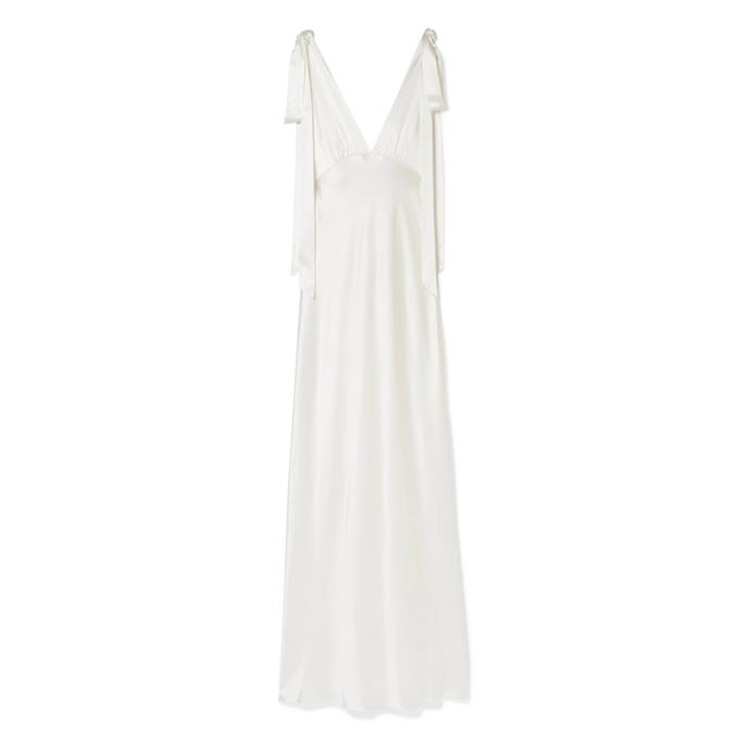 """***The simple dress***<br><br> Gown by Les Rêveries, $1,576 at [NET-A-PORTER](https://www.net-a-porter.com/au/en/product/1170589/les_reveries/silk-charmeuse-gown