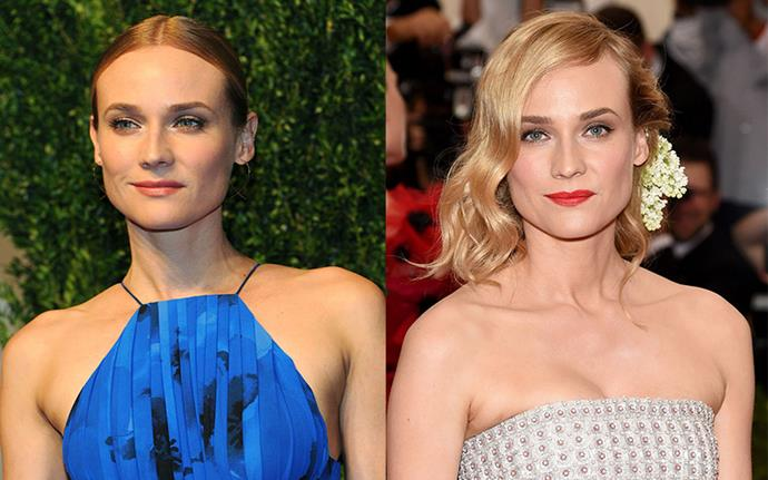 "**Diane Kruger** <br><br> For Kruger it wasn't a bad haircut, but a bad dye job that left her desperate for a quick fix. ""I hadn't colored my hair in six months, and I had been away working for two months,"" she explained to *Allure* of the red shade she sported in 2015. ""I'm in New York, and it looked a little dull, so I just thought, I'll go to CVS and buy a gloss. Only it turned my hair a dark mud brown. I called anybody that I know in New York who could help me. Serge Normant literally saved me this morning. And now it's still slightly red, but it's getting better. I have to keep going back. The woman at the salon who is helping me said it's going to take three visits."""