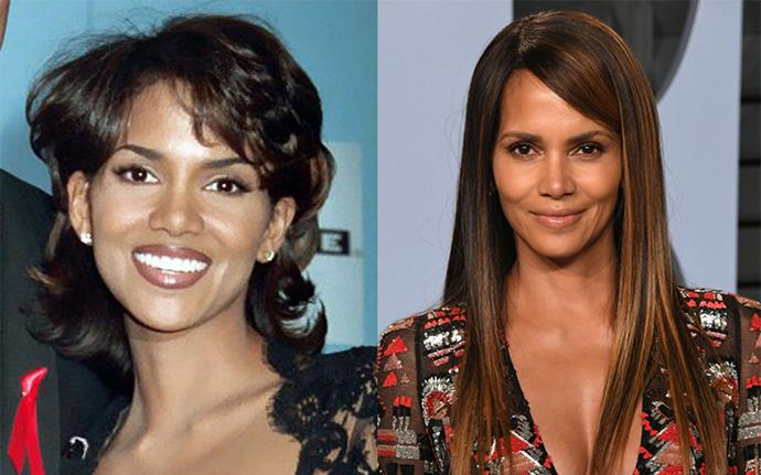 "**Halle Berry** <br><br> It's hard for Halle Berry to look bad, but she thnks the 1994 cut on the left was her worst ever. ""It looks like a backward mullet!"" she told *InStyle*."