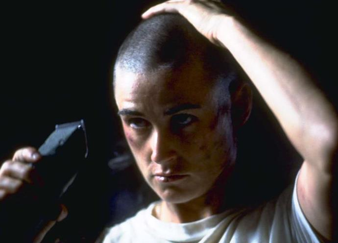 **Demi Moore's head-shaving scene in** ***G.I. Jane***<br><br>  Demi Moore stunned Tinseltown when she chose to get an actual buzzcut for her role as Lieutenant Jordan O'Neil in G.I. Jane. The scene and look went down as one of the most talked-about in Hollywood history.