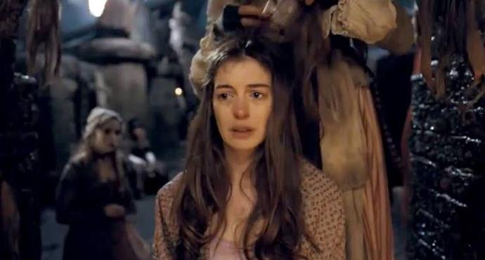 **Fantine losing her long hair in** ***Les Miserables***<br><br>  Anne Hathaway's powerful portrayal of Fantine, a tragic and noble prostitute who sells her hair to support her daughter, was one that stayed with viewers long after the film was over.