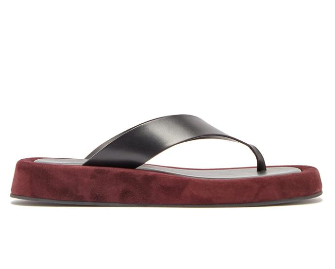 "Ginza leather and suede platform flip-flops by The Row, approx. $1,328 AUD from [MATCHESFASHION.COM](https://www.matchesfashion.com/products/The-Row-Ginza-leather-and-suede-flatform-flip-flops-1290227|target=""_blank""