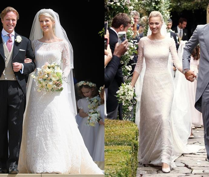 ***Lady Gabriella Windsor and Beatrice Borromeo***<br><br> Royal brides Lady Gabriella and Beatrice both chose lace gowns for their big day with three-quarter sleeves and a bateau neckline.