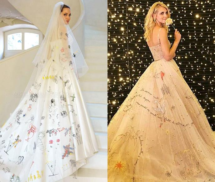***Angelina Jolie and Chiara Ferragni***<br><br> Angelina Jolie and fashion blogger Chiara Ferragni both embraced hand-'drawn' images and words stitched onto their gowns.