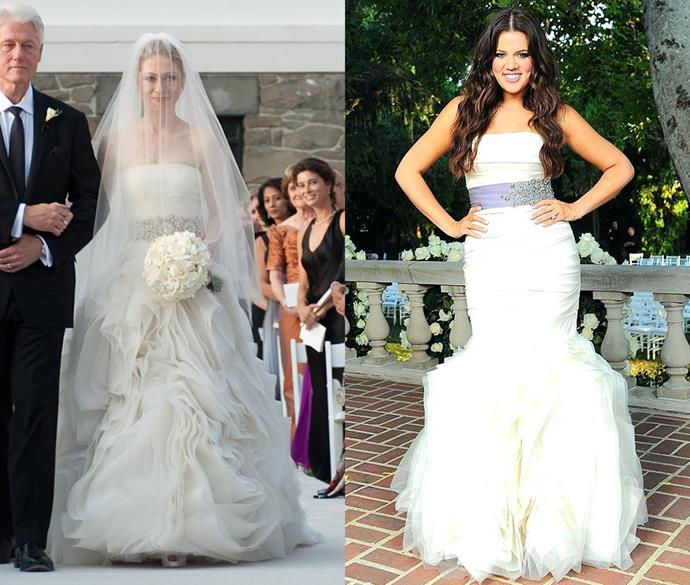 ***Chelsea Clinton and Khloe Kardashian***<br><br> Although Chelsea Clinton and Khloe Kardashian are definitely an odd pair-up, their Vera Wang gowns featured a lot of the same details including a strapless silhouette, contrasting jewelled belt and ruffled skirt.