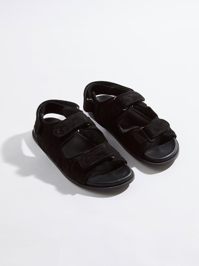 """Padded double strap sandal by Bassike, $595 from [Bassike](https://www.bassike.com/products/padded-double-strap-sandal-ss19wa03-black