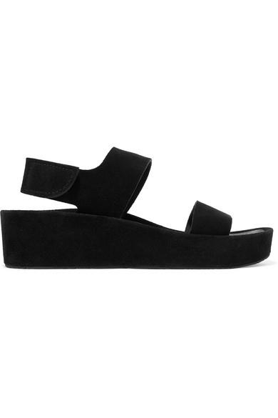 """Lacey suede platform wedge sandals by Pedro Garcia, $430.23 from [NET-A-PORTER](https://www.net-a-porter.com/au/en/product/1106436/Pedro_Garcia/lacey-suede-platform-wedge-sandals