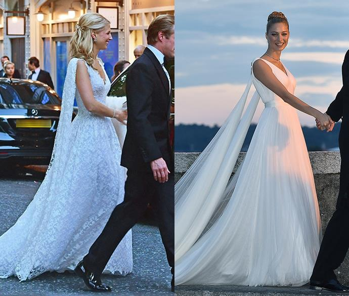 ***Lady Gabriella Windsor and Beatrice Borromeo***<br><br> Not only that, but their second gowns were also similar!