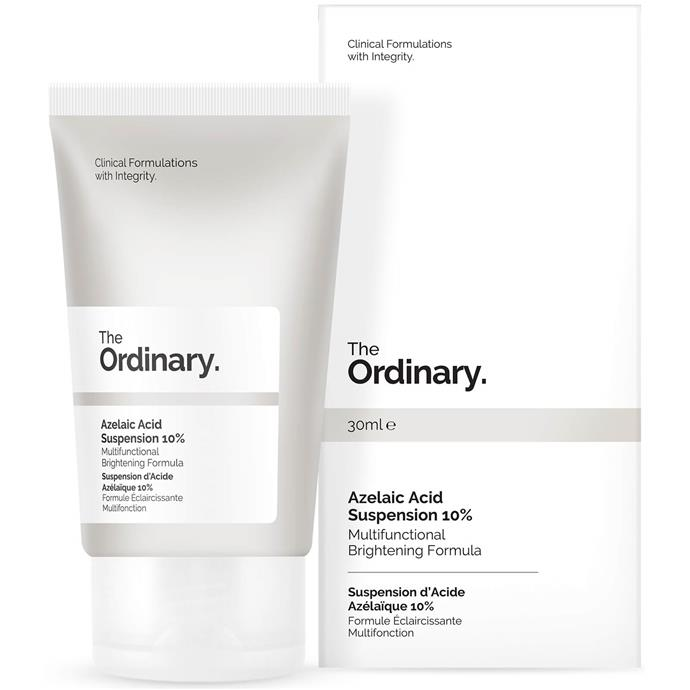 "The Ordinary azelaic acid suspension 10%, $14 at [Amazon](https://www.amazon.com.au/Ordinary-Azelaic-Acid-Suspension-30ml/dp/B06XZWF6R3|target=""_blank""