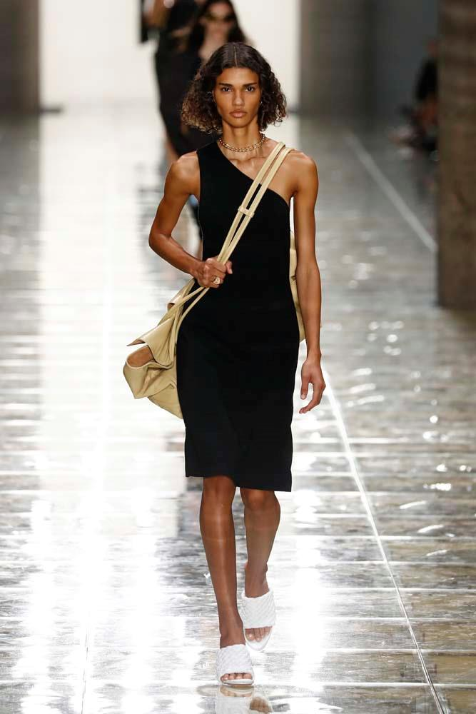 "***Bottega Veneta***<br><br> ""The brand on everyone's lips. And Instagram. And wish list. Sexy summer sleek. This one shoulder dress is so perfectly cut. I also loved every single accessory in this show."" Caroline Tran, fashion editor."