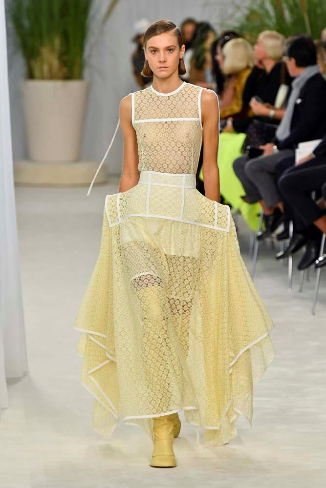 "***Loewe***<br><br> ""This show was heavenly. The construction on this dress is just incredible. I love the heaviness of the silhouette, created in the lemon yellow sheer eyelet lace."" Caroline Tran, fashion editor."