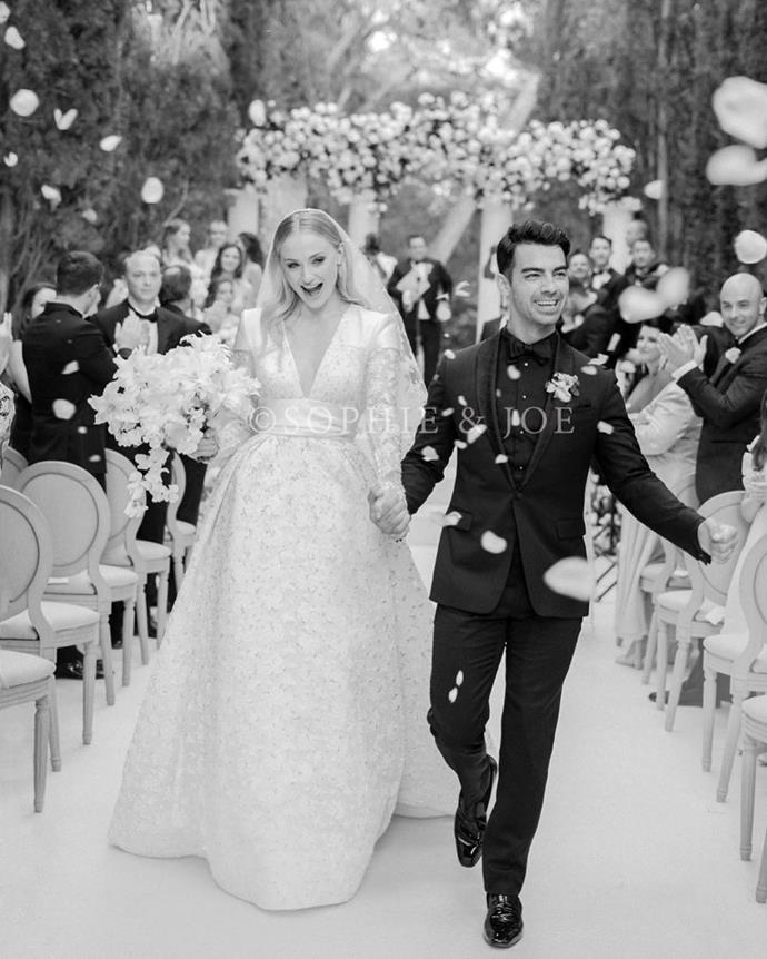 "***Sophie Turner in Louis Vuitton (2019)*** <br><br> When Turner married Joe Jonas in a secretive French ceremony in 2019, the *Game of Thrones* actress wore a custom gown by Louis Vuitton's womenswear creative director, Nicolas Ghesquière, who also happens to be a close friend of the couple. <br><br> *Image: Instagram [@sophiet](https://www.instagram.com/p/BzetyOqhAQq/|target=""_blank""