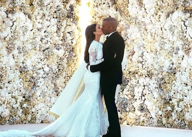 "***Kim Kardashian West in Givenchy (2014)*** <br><br> Kim Kardashian West's third wedding was her grandest by far. Marrying Kanye West in Florence, Italy, West wore a bespoke design by Riccardo Tisci for Givenchy, and consequently broke the Internet with the accompanying wedding day photos. <br><br> *Image: Instagram [@kimkardashian](https://www.instagram.com/kimkardashian/|target=""_blank""