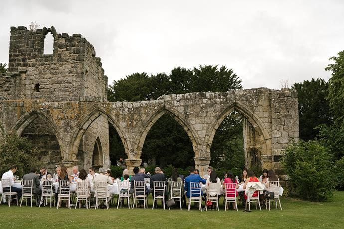 **On the location:** To one side of Birdsall House are some 12th century abbey ruins. After our civil ceremony we had a gorgeous lunch by the ruins which was such a special experience noting the amount of history within the grounds of the beautiful house.