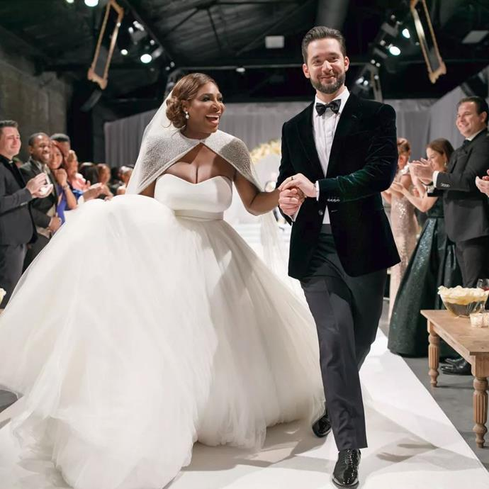 ***Serena Williams in Alexander McQueen (2017)*** <br><br> Tennis champion Serena Williams married tech entrepreneur and Reddit CEO, Alexis Ohanian, in Florida in 2017, and social media consequently fanned out over her princess-style Alexander McQueen by Sarah Burton gown.