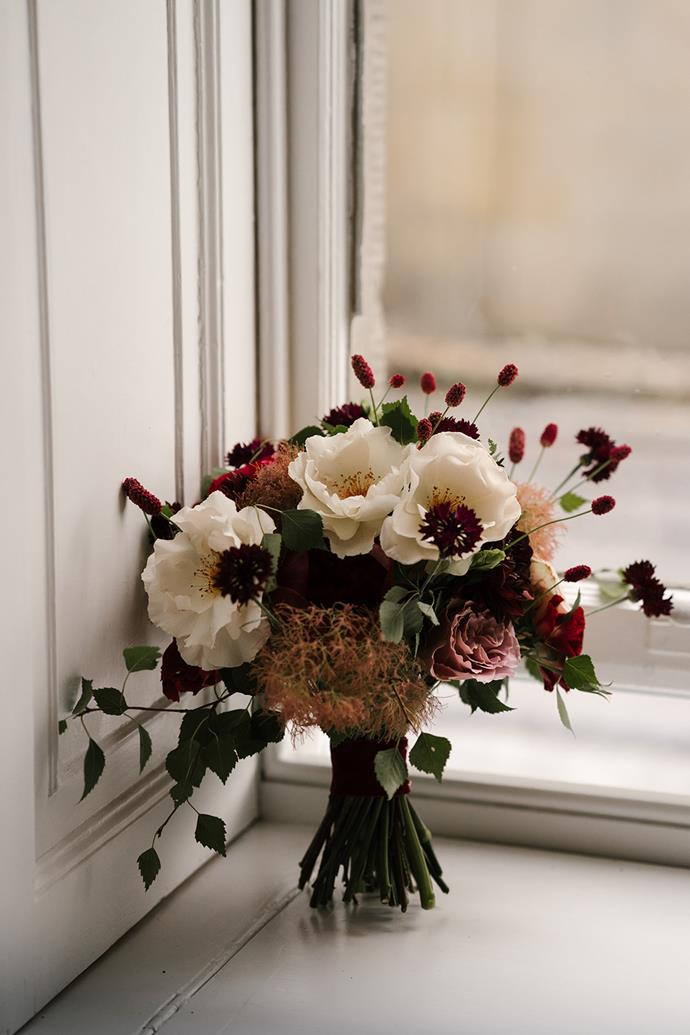 **On the flowers:** My civil bouquet had tones of deep red which reflected the Indian outfit I wore later that evening. My bridal bouquet and the bridesmaid bouquets were a mix of seasonal wild and garden flowers.