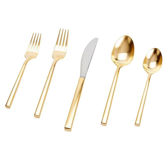 "**Theme Your Table Setting**<br><br>  Luna Brushed Gold 5-Piece Cutlery Set by Pottery Barn, $79 from [Pottery Barn](http://www.potterybarn.com.au/luna-brushed-gold-flatware-set|target=""_blank""