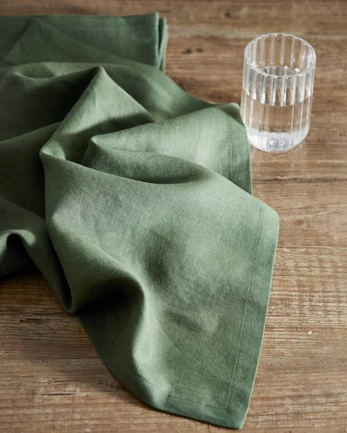 "**Theme Your Table Setting**<br><br>  Khaki Linen Napkin set of 4 by Philé, $60 from [Philé](https://phile.com.au/collections/linen-napkins/products/khaki-linen-napkin|target=""_blank""
