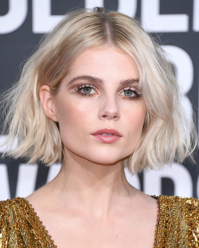 "**Lucy Boynton** <br><br> **Decade:** Now <br><br> In 2019, a ""cool-girl bob"", worn middle parted and with volume in the ends, became the haircut to have thanks to awards season darling Lucy Boynton's chin-grazing chop."