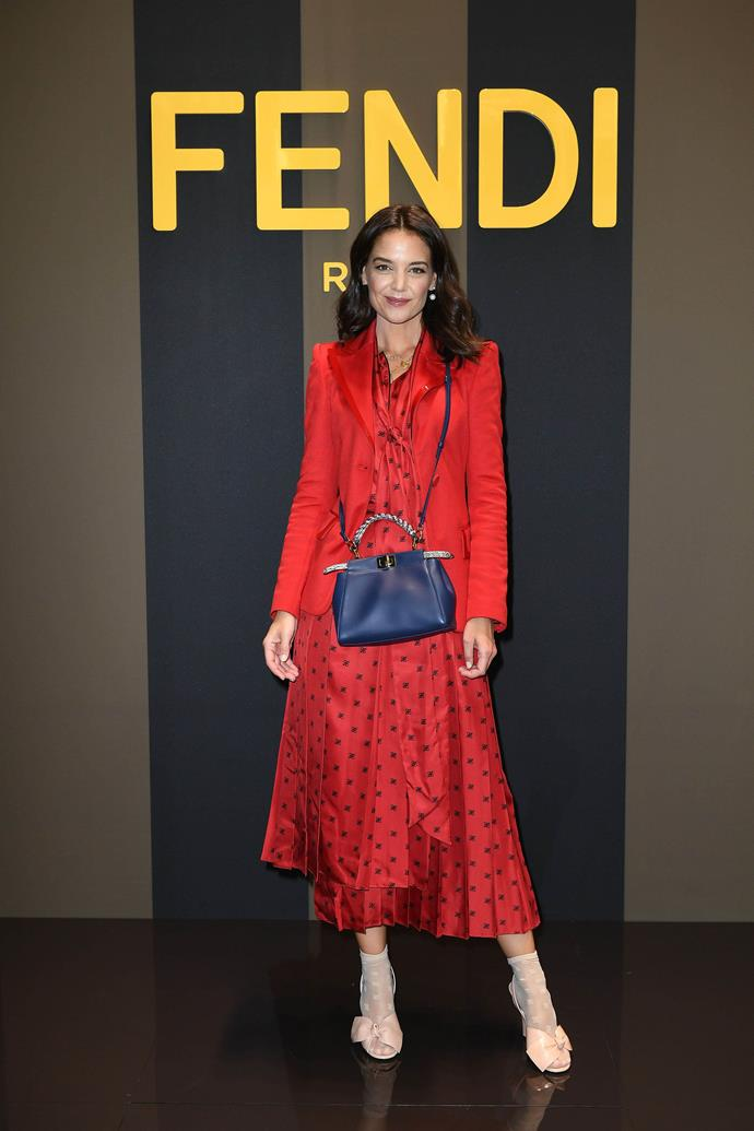 Wearing a red blazer and polka-dot dress on September 19, 2019.<br><br>  *Image courtesy of Fendi*
