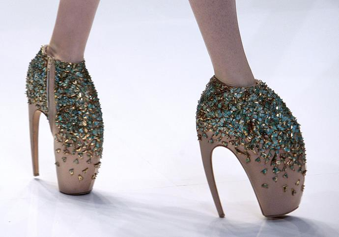 Arguably one of the most famous pairs of shoes in history, Alexander McQueen's spring/summer 2010 sculptural crystal-encrusted 'Armadillo' shoe was a Lady Gaga and fashion industry favourite.
