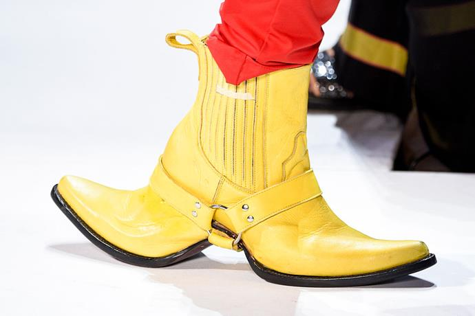 Another designer to dabble in doubles? Shayne Oliver from Hood By Air, who sent dual-ended, trompe-l'œil cowboy boots down the brand's spring/summer 2017 runway.