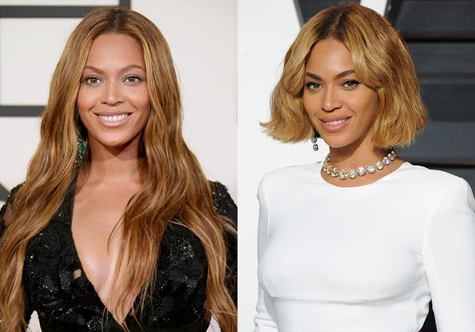 ***Beyoncé***<br><br> After wearing her honey-toned hair all the way down to her waist in 2015, Beyoncé appeared just weeks later at a different event with a French bob.