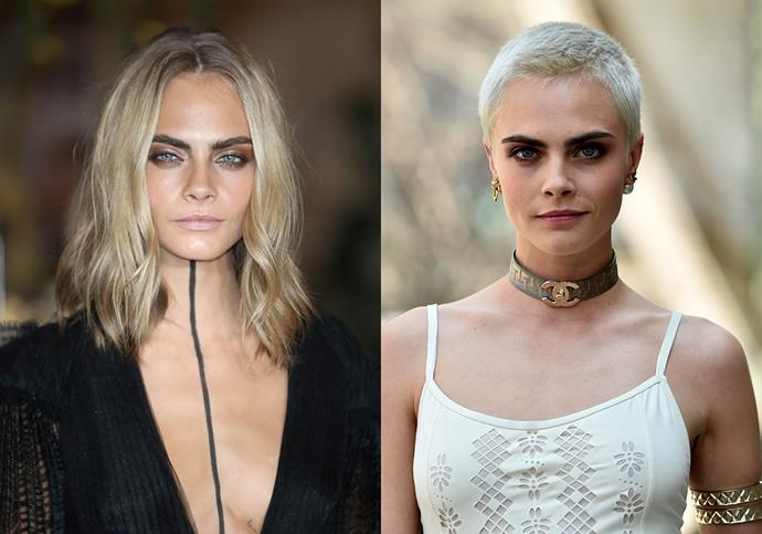 "***Cara Delevingne***<br><br> In 2017, model and actress Cara Delevingne shaved her head for the film *Life in a Year*, something she was told not to do. ""My agents and managers were like, 'Please don't! Why would you do that?'"" she told *[ELLE](https://www.elle.com/culture/celebrities/news/a45363/cara-delevingne-shaved-head/
