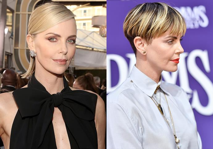 ***Charlize Theron***<br><br> After wearing a very chic lob for a few months, Charlize Theron made headlines when she debuted a very bold bowl cut in mid-2019.