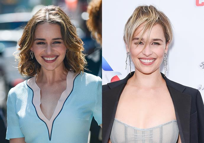 "***Emilia Clarke***<br><br> After rocking her natural brunette hair for years, *Game of Thrones* star Emilia Clarke lent into her character, Daenerys Targaryen's, famous silver hair and chopped and dyed hers (which was inspired by that time ""Gwyneth and Brad had the same hair cut"") in 2018."