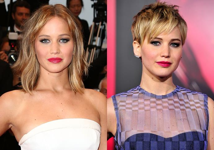 "***Jennifer Lawrence***<br><br> Of her pixie cut in 2013, Lawrence divulged, ""It grew to an awkward, gross length, and I kept putting it back in a bun and I was like, ""I don't want to do this,"" so I just cut it off.  It couldn't get any uglier."""