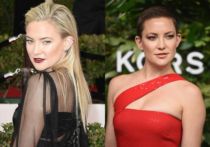 "***Kate Hudson***<Br><br> In 2017, Kate Hudson traded in her long blonde hair for a buzz-cut. Of the change, she said: ""I honestly think that a woman in her life at one point needs to just chop it all off [...] There's something so liberating about it."""