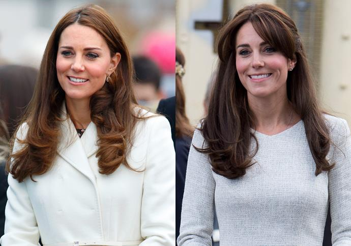 ***Catherine, Duchess of Cambridge***<br><br> It may not look like much, but when you're a duchess and future queen, a fringe is a big deal. Kate Middleton debuted this set of bangs in 2015 to worldwide headlines.